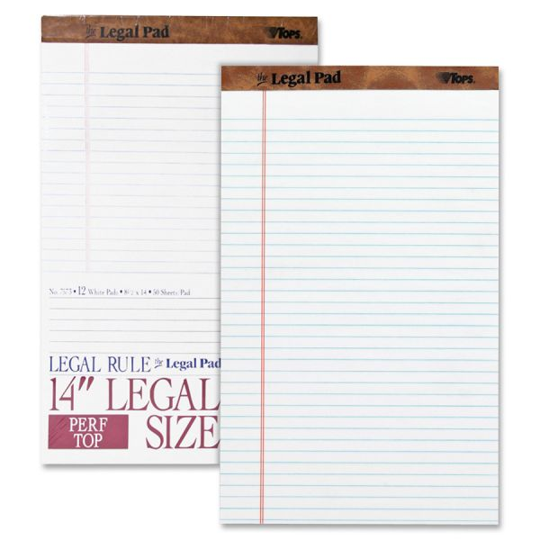 "TOPS ""The Legal Pad"" Ruled Perforated Pads, 8 1/2 x 14, White, 50 Sheets, Dozen"