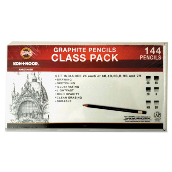 Koh-I-Noor Toison d'Or Graphite Pencils, 3.8 mm, Class Pack, 6 Shades, 6B-2H, 24/Set
