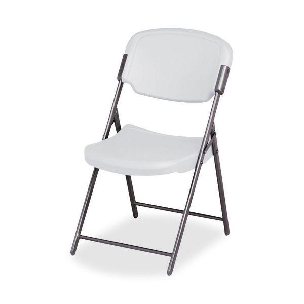 Iceberg Rough N Ready Series Resin Folding Chair, Steel Frame, Platinum