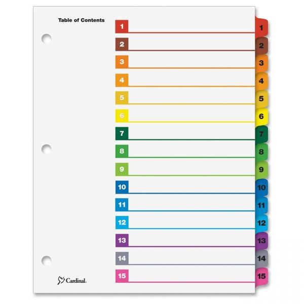 Cardinal OneStep Printable 15-Tab Numbered Dividers With Table Of Contents Page