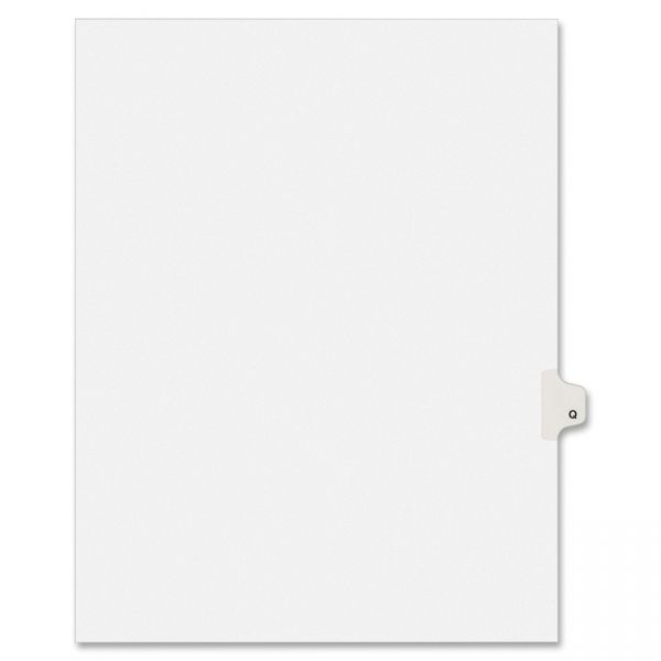 Avery-Style Legal Exhibit Side Tab Dividers, 1-Tab, Title Q, Ltr, White, 25/PK