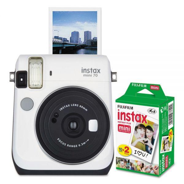 Fujifilm Instax Mini 70 Bundle, Auto Focus, White