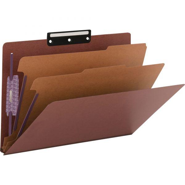 Smead SafeSHIELD 2-Divider Pressboard Classification Folders with Metal Tab