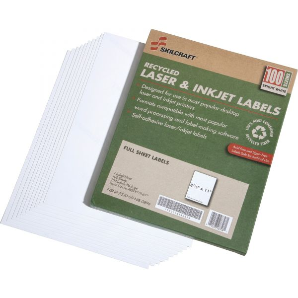 SKILCRAFT 7530-01-578-9298 Full Sheet File Folder Label