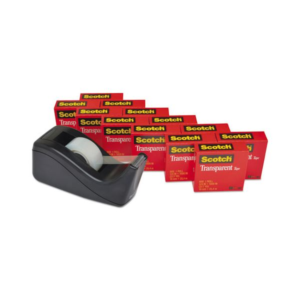 "Scotch Transparent Tape Dispenser Value Pack, 1"" Core, Transparent, 12/Pack"