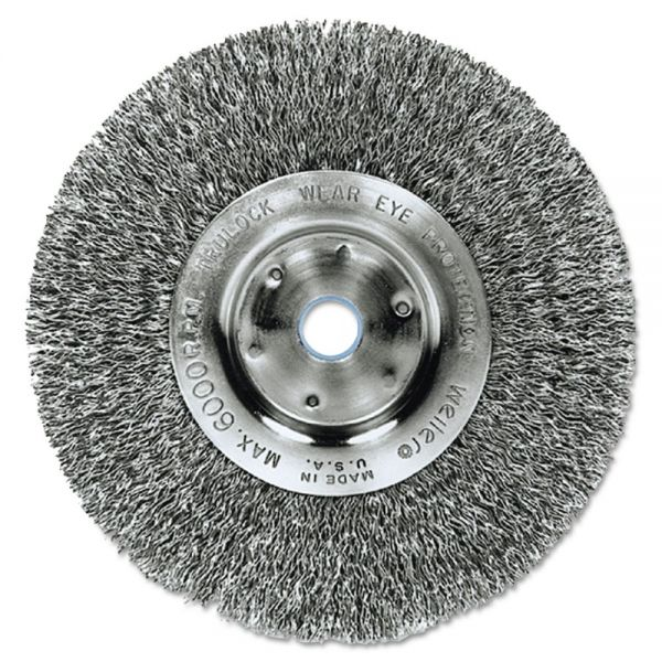 "Weiler Trulock TLN-8 Narrow-Face Crimped Wire Wheel, 8"" dia, .014 Wire, Arbor Dia: 5/8"""