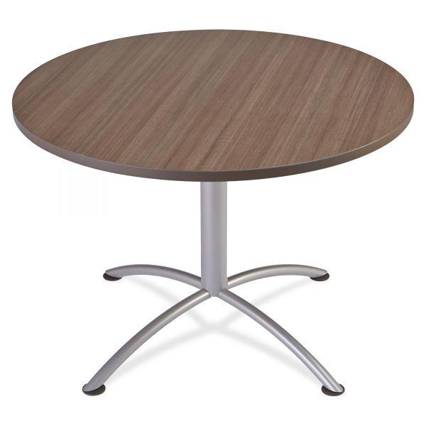 "Iceberg iLand Table, Contour, Round Seated Style, 42"" dia. x 29"", Natural Teak/Silver"