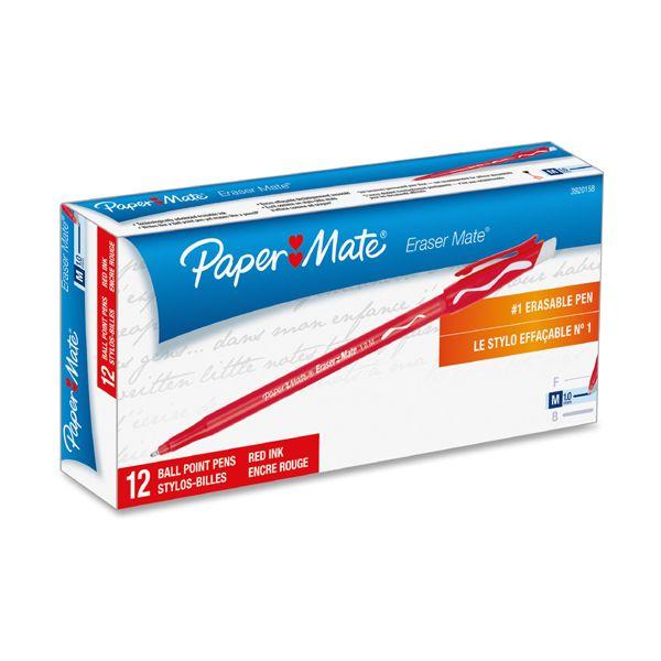 Paper Mate Eraser Mate Ballpoint Stick Erasable Pen, Red Ink, Medium, Dozen