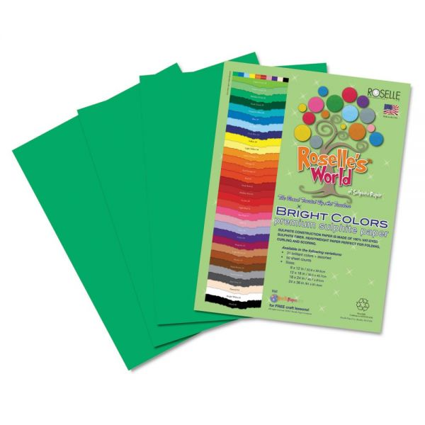 Roselle Premium Sulphite Green Construction Paper