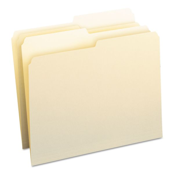 Smead File Folders, 1/2 Cut, One-Ply Top Tab, Letter, Manila, 100/Box