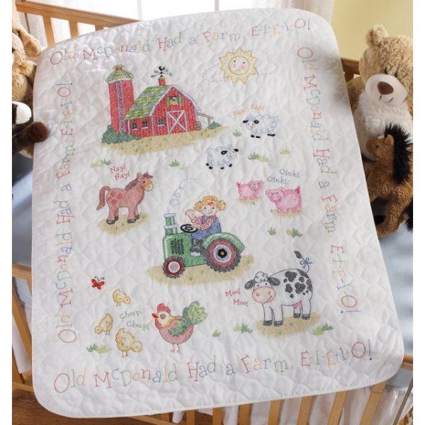Bucilla On The Farm Crib Cover Stamped Cross Stitch Kit