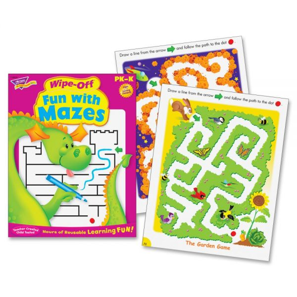 Trend Fun with Mazes Wipe-off Book Learning Printed Book
