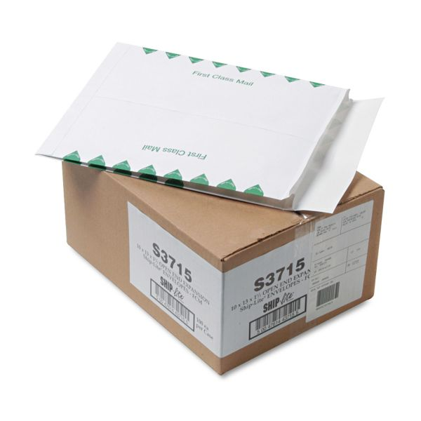 Quality Park Ship Lite Redi Flap Expansion Mailer, 1st Class, 10 x 13 x 1 1/2, White, 100/Box