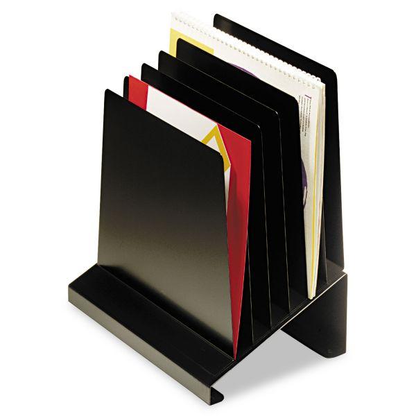 SteelMaster Slanted Vertical Organizer, Six Sections, Steel, 11 x 7 1/4 x 11 1/2, Black