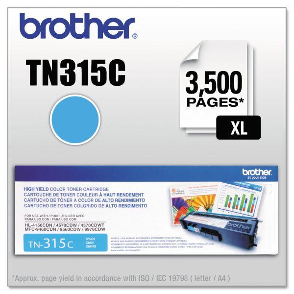 Brother Genuine TN315C High Yield Cyan Toner Cartridge.
