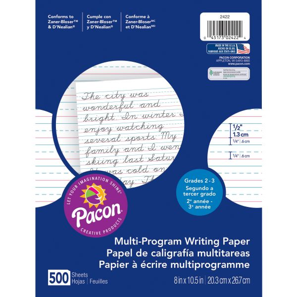 "Pacon Multi-Program Handwriting Paper, 1/2"" Short Rule, 10-1/2 x 8, White, 500 Shts/Pk"