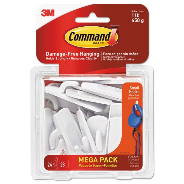 Command General Purpose Hooks, 1lb Capacity, Plastic, White, 24 Hooks, 28 Strips/Pack