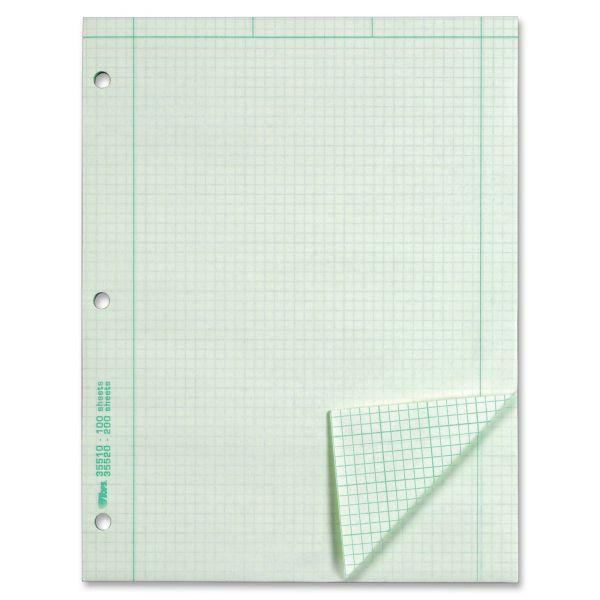 TOPS Engineering Computation Pad, Grid to Edge, 8 1/2 x 11, Green, 100 Sheets