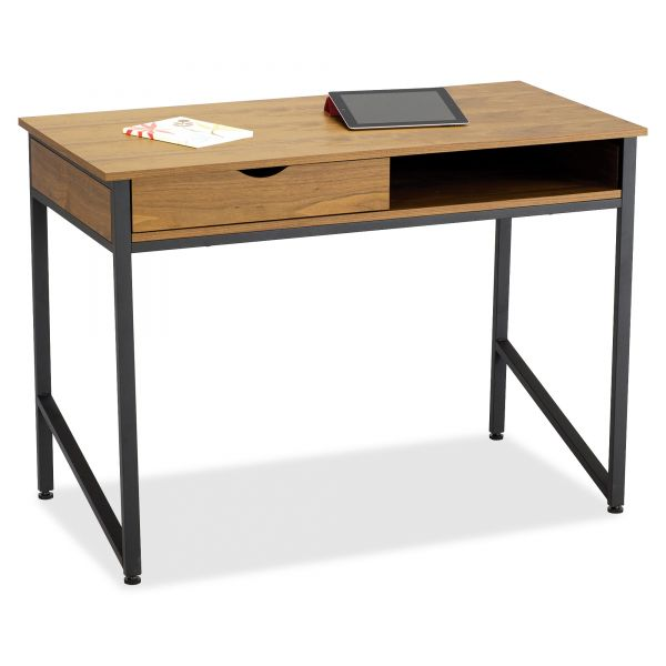 Safco Single Drawer Office Desk, 43 1/4 x 21 5/8 x 30 3/4, Natural/Black