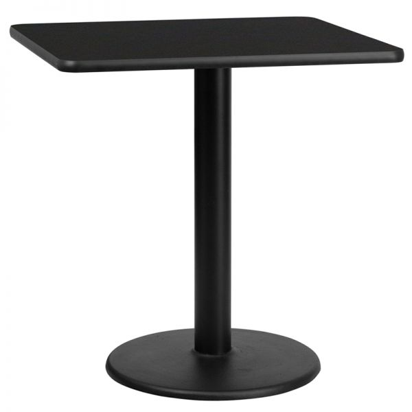 Flash Furniture 30'' Square Black Laminate Table Top with 18'' Round Table Height Base