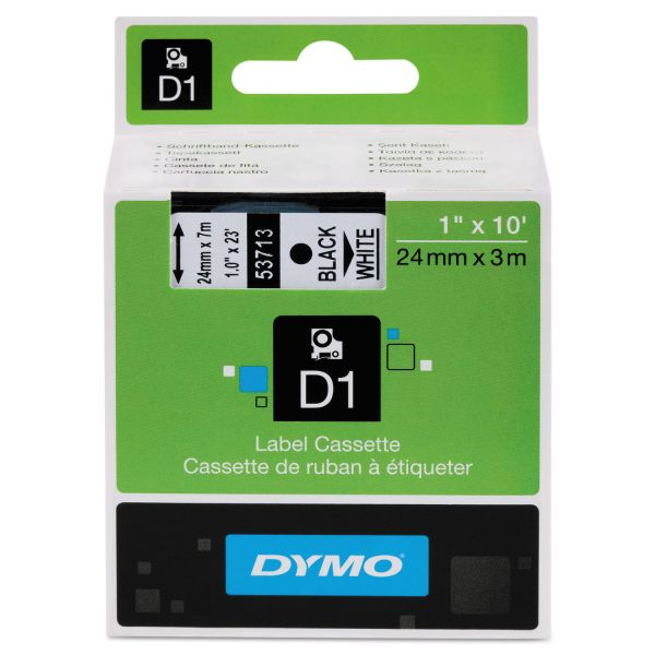 "DYMO D1 High-Performance Polyester Removable Label Tape, 1"" x 23 ft, Black on White"