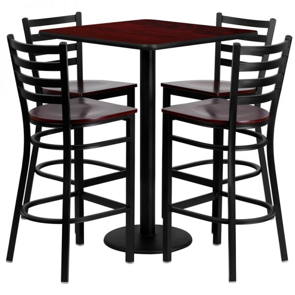 Flash Furniture 30'' Square Mahogany Laminate Table Set with 4 Ladder Back Metal Barstools - Mahogany Wood Seat