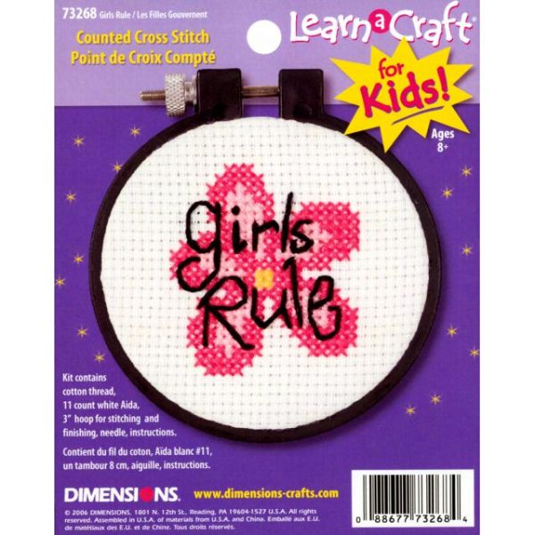 Learn-A-Craft Girls Rule Counted Cross Stitch Kit