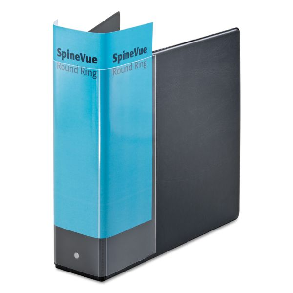"Cardinal Spine Vue Locking Round Ring Binder, 3"" Cap, 11 x 8 1/2, Black"