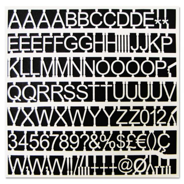 """MasterVision White Plastic Set of Letters, Numbers & Symbols, Uppercase, 1"""" Dia."""