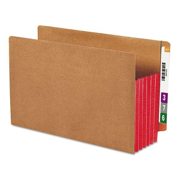 "Smead 5 1/4"" Exp File Pockets, Straight Tab, Legal, Red, 10/Box"