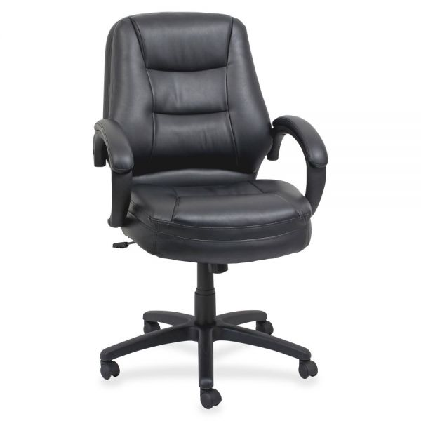 Lorell Westlake Leather Mid Back Managerial Office Chair