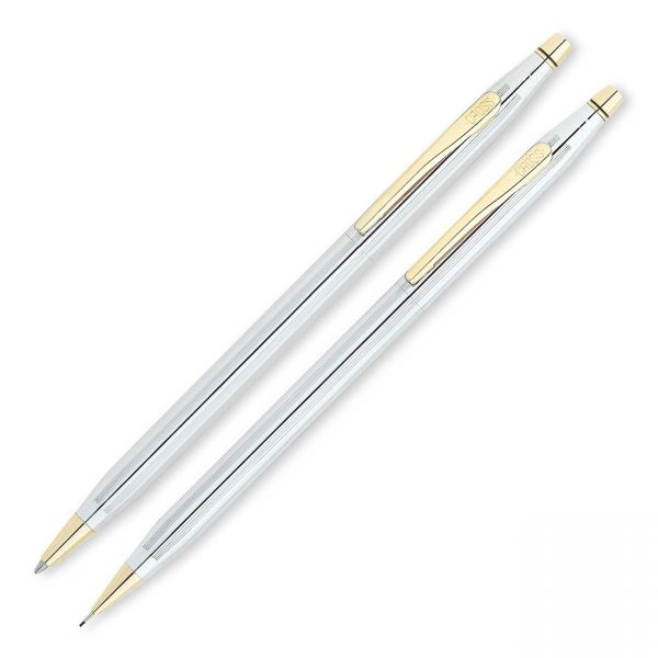 Cross Classic Century Ballpoint Pen & Pencil Set, Chrome/23kt. Gold Plate