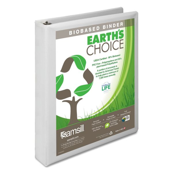 "Samsill Earth's Choice Biobased 3-Ring View Binder, 1"" Capacity, D-Ring, White"