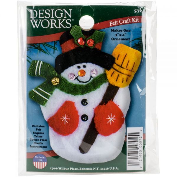 Snowman & Broom Ornament Felt Applique Kit