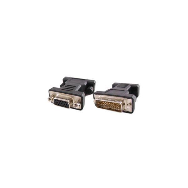 AddOn DVI-I (29 pin) Male to VGA Female Black Adapter