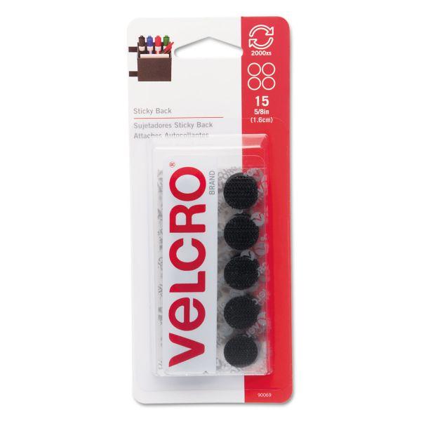 "Velcro Sticky-Back Hook & Loop Dot Fasteners on Strips, 5/8"" dia., Black, 15 Sets/Pack"