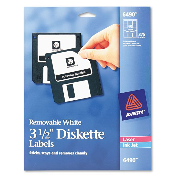 "Avery Laser/Inkjet 3.5"" Diskette Labels, White, 375/Pack"