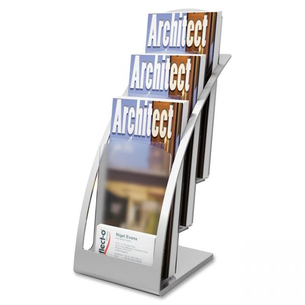 deflecto Three-Tier Leaflet Holder, 6 3/4w x 6 15/16d x 13 5/16h, Silver