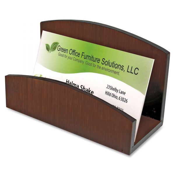 Artistic Eco-Friendly Bamboo Curves Business Card Holder, Capacity 50 Cards, Espresso