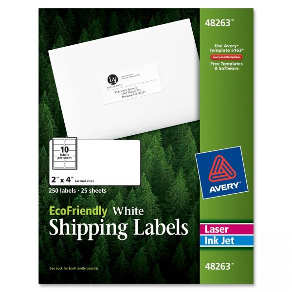 "Avery 48263 EcoFriendly 2"" x 4"" Shipping Labels"