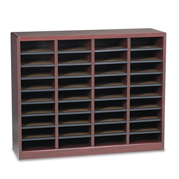Safco Wood/Fiberboard E-Z Stor Sorter, 36 Sections, 40 x 11 3/4 x 32 1/2, Mahogany