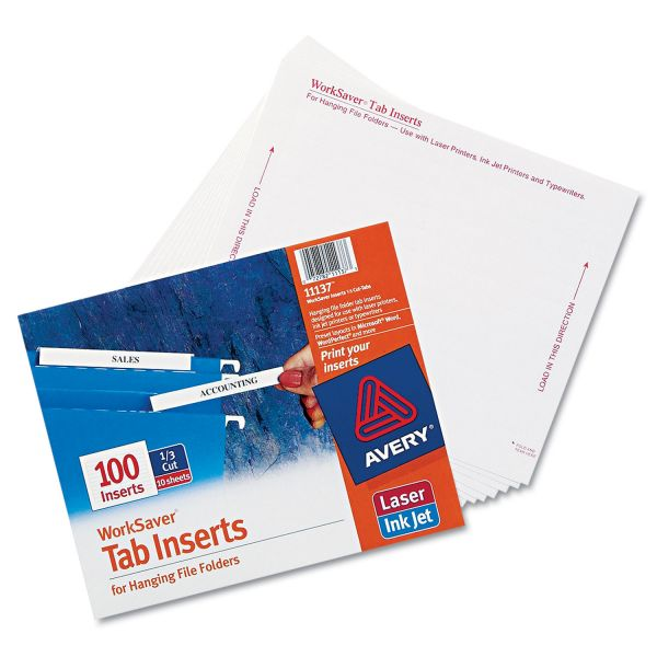 Avery Tab Inserts for Hanging File Folders