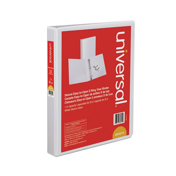 """Universal Deluxe Easy-to-Open 3-Ring View Binder, 1"""" Capacity, D-Ring, White"""