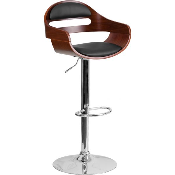 Flash Furniture Bentwood Barstool with Cutout Padded Back