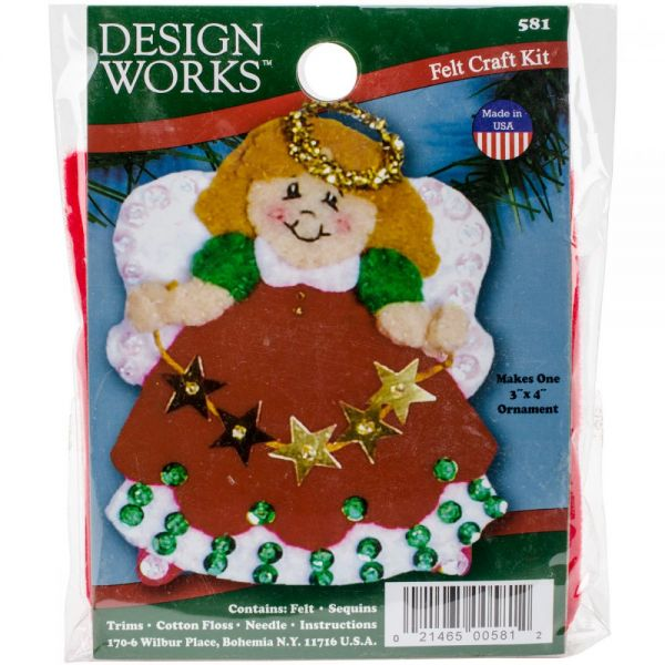 Angel Red Ornament Felt Applique Kit