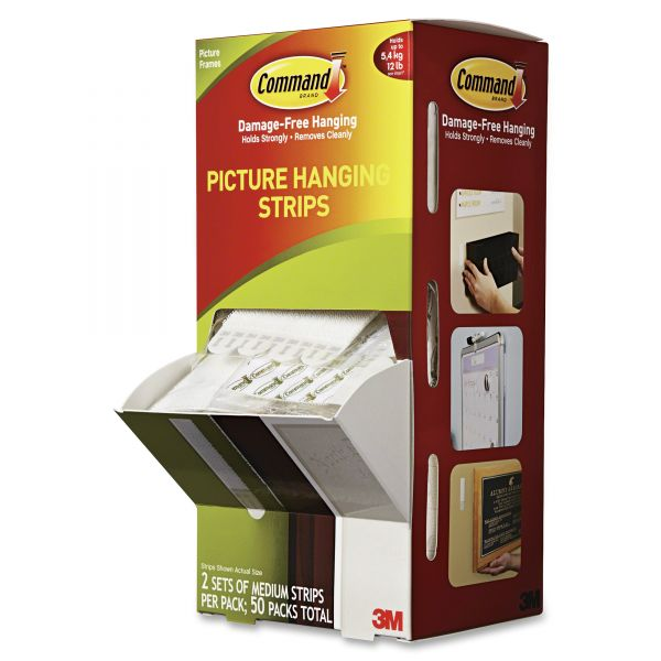 """Command Picture Hanging Strips, 5/8"""" x 2 3/4"""", White, 50/Carton"""