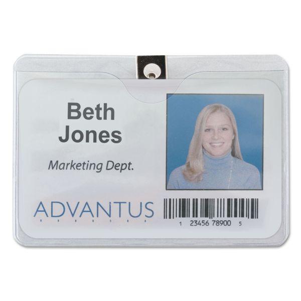 Advantus ID Badge Holder w/Clip, Horizontal, 4w x 3h, Clear, 50/Pack