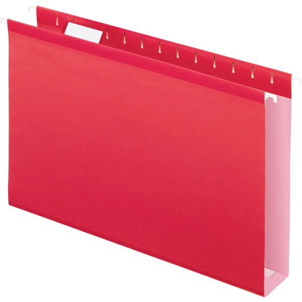 "Pendaflex Reinforced 2"" Extra Capacity Hanging Folders, 1/5 Tab, Legal, Red, 25/Box"