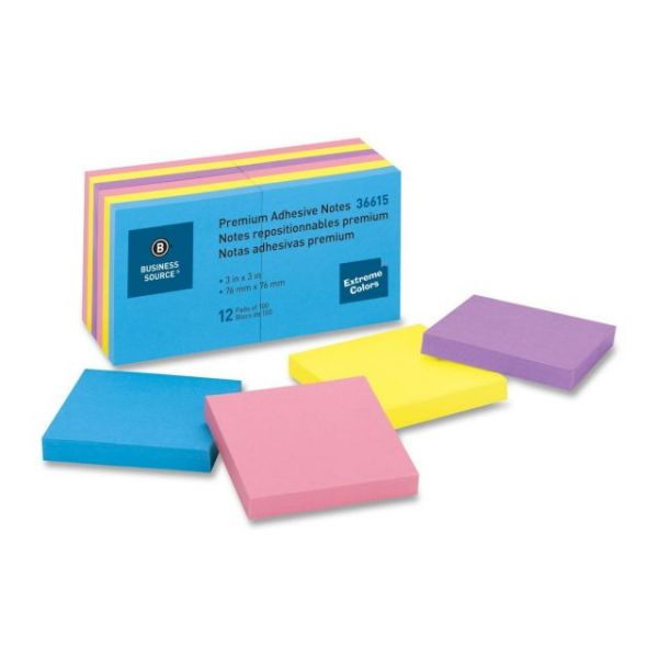 "Business Source 3"" x 3"" Adhesive Note Pads"
