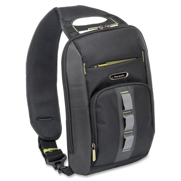 Solo Active Universal Tablet Sling, 10 3/4 x 3 1/2 x 13, Black/Gray; Green Accents
